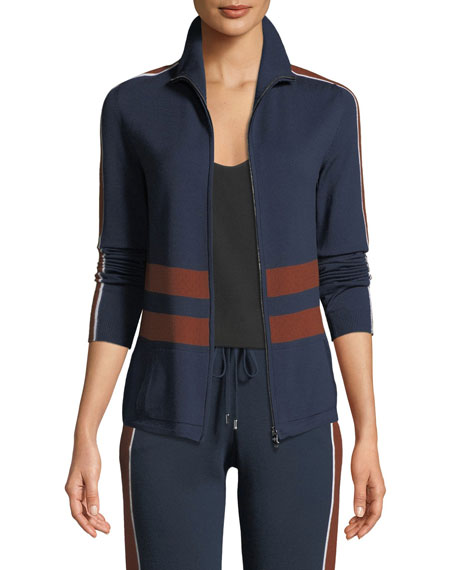 Loro Piana High-Neck Striped Ribbed Athletic Jacket and