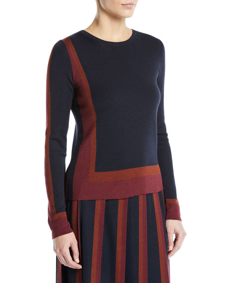 Graphic Cashmere-Silk Crewneck Long-Sleeve Sweater