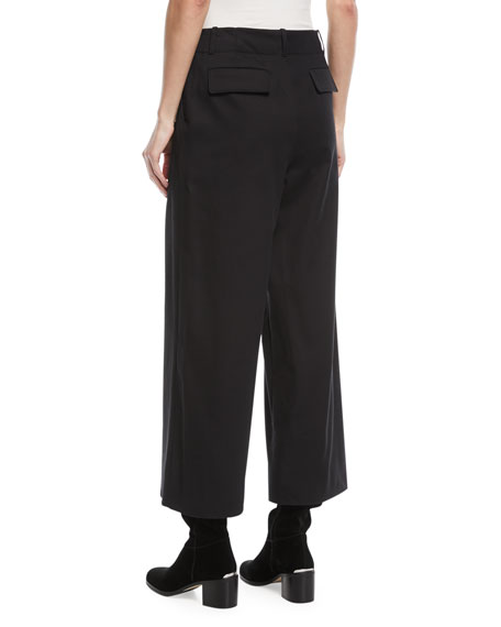 Benton Wide-Leg Tricot Stretch-Cotton Pants