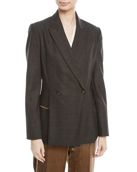 Brunello Cucinelli Double-Breasted Subtle-Plaid Wool Blazer with