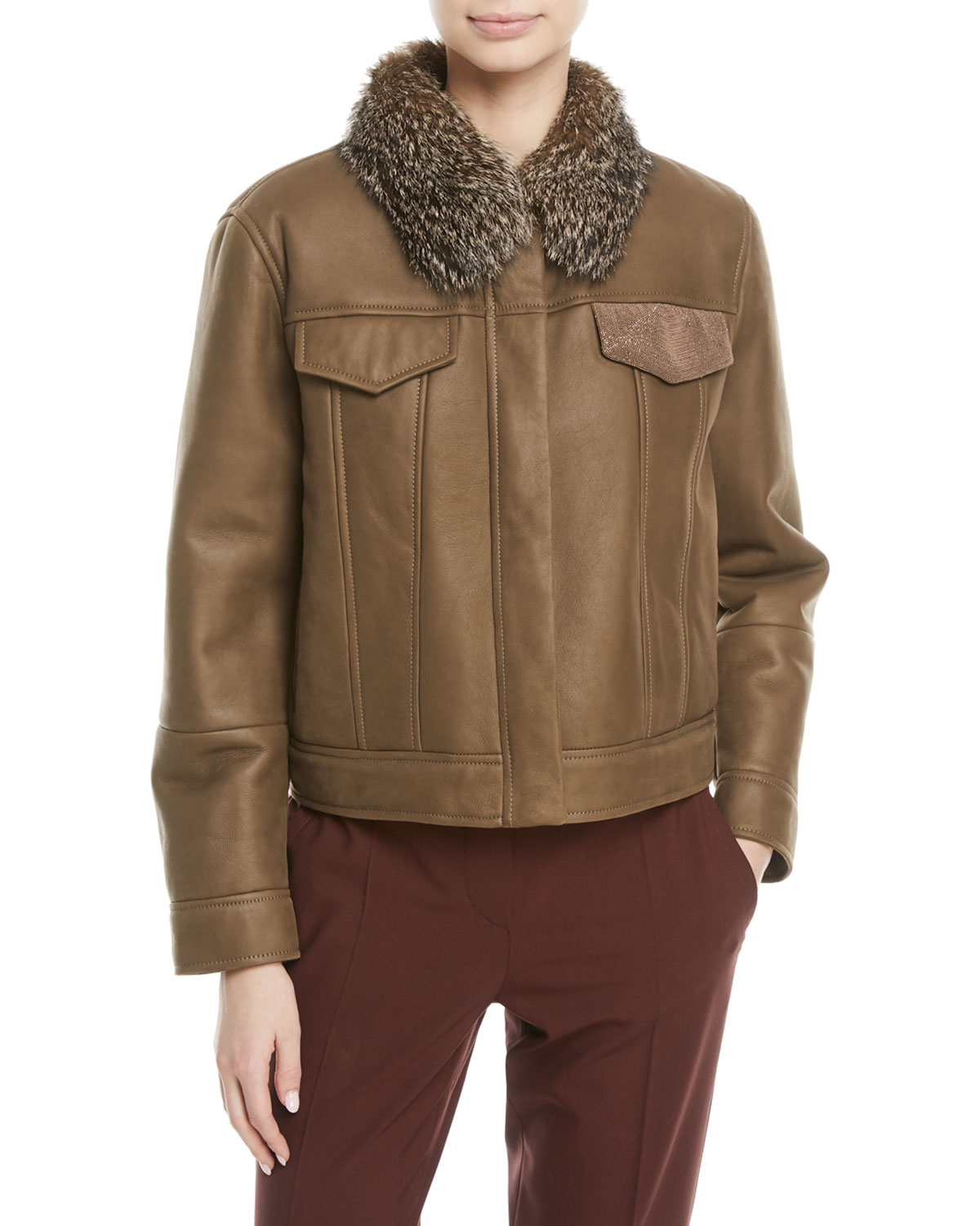 Brunello Cucinelli Cropped Shearling Leather Jacket with ...