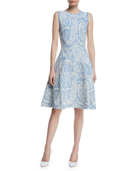 Zac Posen Sleeveless Knitted Jacquard Fit-and-Flare Knee-Length