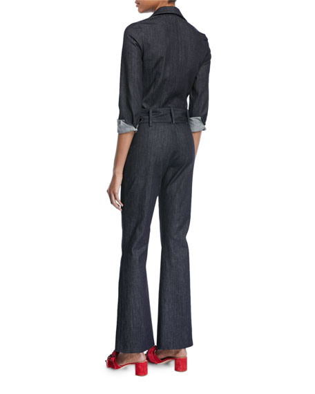 The 73 Long-Sleeve Snap-Front Belted Denim Jumpsuit