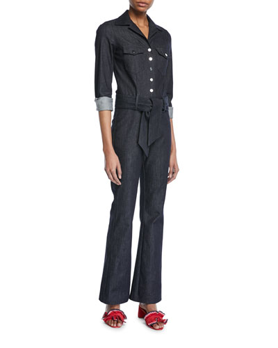 Long-Sleeve Snap-Front Belted Denim Jumpsuit