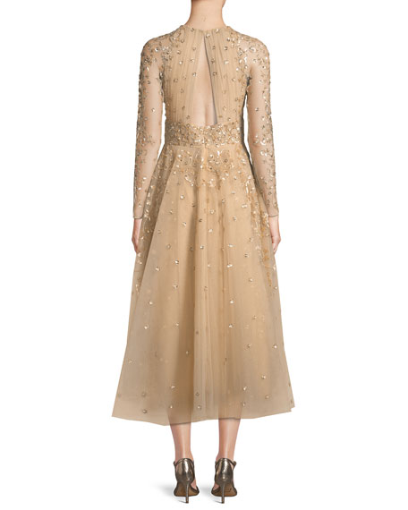 Ariana Long-Sleeve Embroidered Tea-Length Cocktail Dress