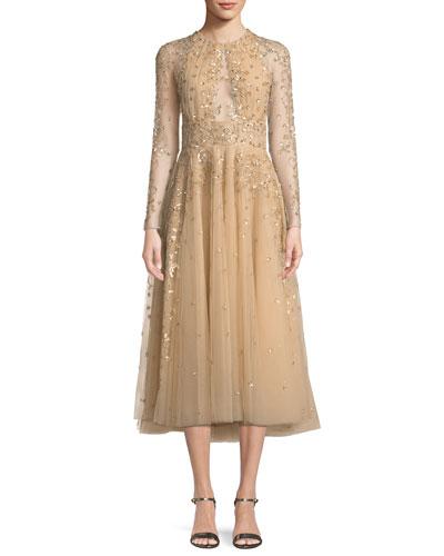Ariana Long-Sleeve Embroidered Tea-Length Cocktail Dress