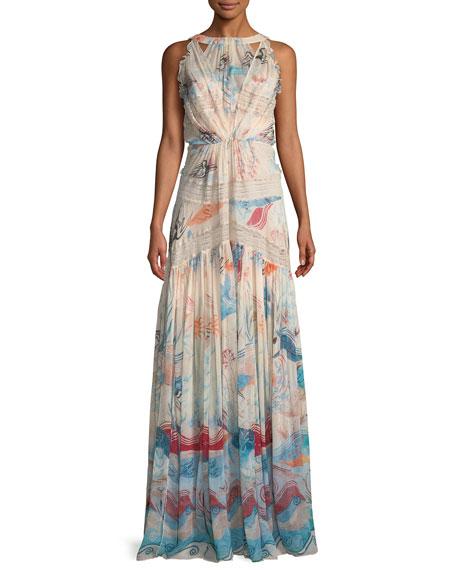 High-Neck Sleeveless Fresco-Print Silk Long Dress