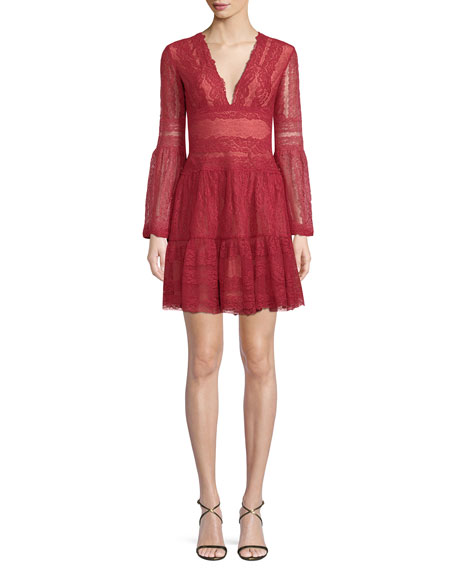 Deep-V Bell-Sleeve Lace Cocktail Dress