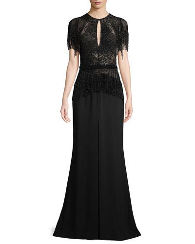 Short-Sleeve Embellished Long Evening Gown