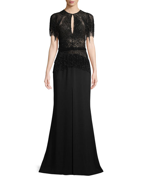 Short-Sleeve Embellished Long Evening Gown