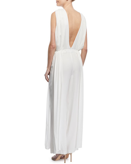 High-Neck Sleeveless Wide-Leg Crepe Satin Jumpsuit