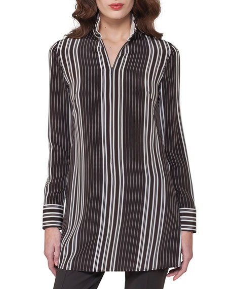 Striped Silk Zip-Front Tunic Blouse