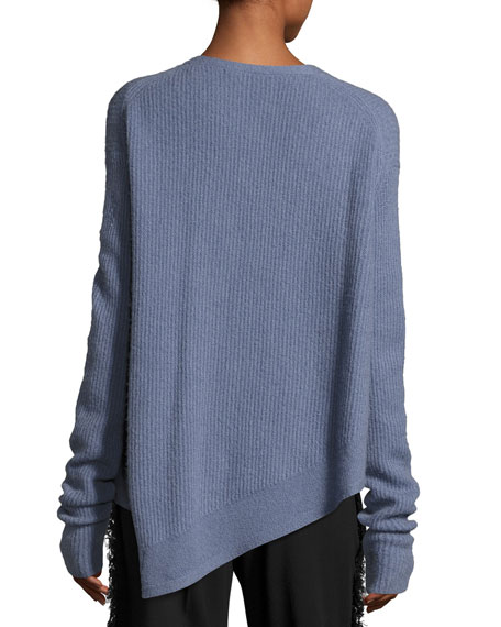 Asymmetric Ribbed Cashmere-Blend Sweater