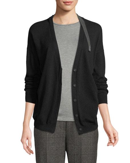 Brunello Cucinelli Cashmere V-Neck Monili-Strap Cardigan Sweater