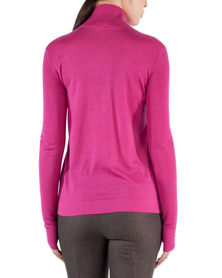Ribbed Cashmere-Silk Mock-Neck Sweater
