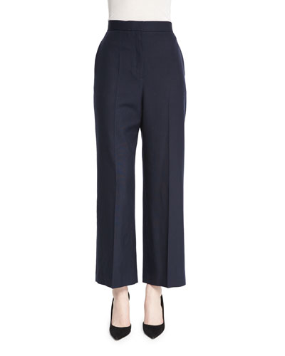 Resme Wide-Leg Cropped Silk Canvas Pants, Pitch Blue
