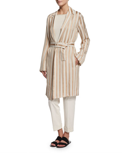 Stervis Striped Jacket W/Belt, Blush/Ivory Stripe