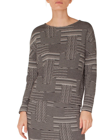 Akris punto Crewneck Long-Sleeve Knit Jersey Top and