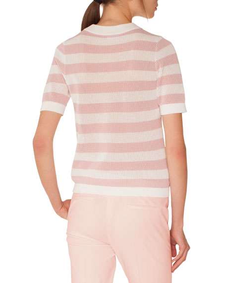 Crewneck Short-Sleeve Striped Knit Pullover Top