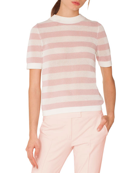 Akris punto Crewneck Short-Sleeve Striped Knit Pullover Top