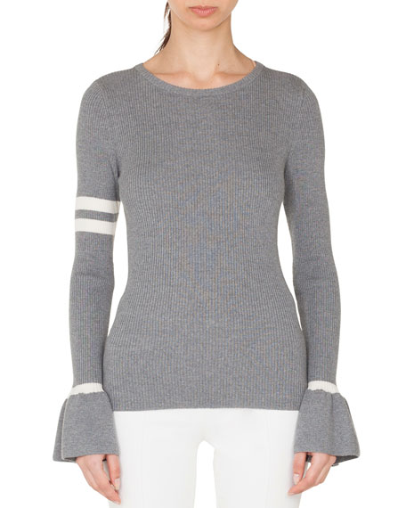 Akris punto Crewneck Striped Long-Sleeve Wool Knit Pullover