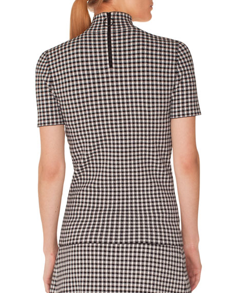 Turtleneck Short-Sleeve Check Knit Top