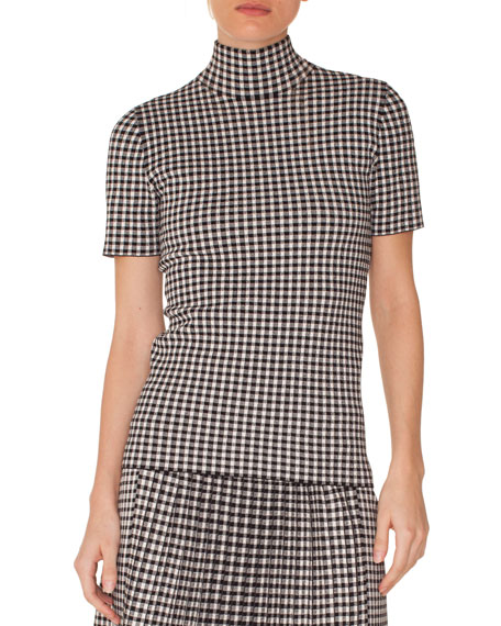 Akris punto Turtleneck Short-Sleeve Check Knit Top
