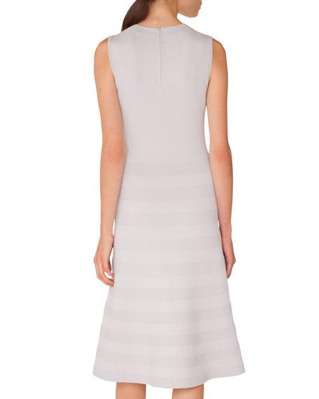 Sleeveless Round-Neck Tonal-Pintucking Knit Midi Dress