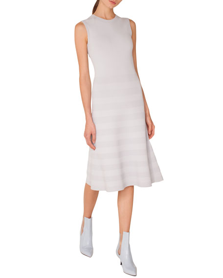 Akris punto Sleeveless Round-Neck Tonal-Pintucking Knit Midi