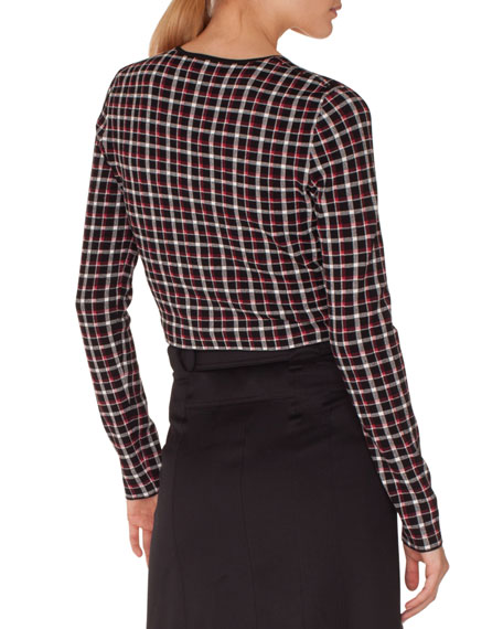 Long-Sleeve Zip-Front Glen Check Knit Bolero