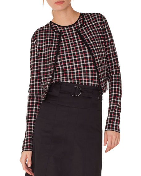 Akris punto Long-Sleeve Zip-Front Glen Check Knit Bolero