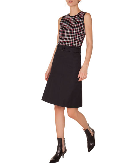 Akris punto Sleeveless Round-Neck Glen Check Back-Zip Knit
