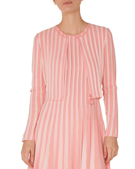 Akris punto Zip-Front Long-Sleeve Striped Knit Cropped Bolero
