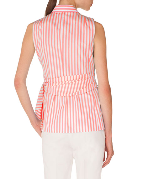 Sleeveless Kent-Collar Wrap-Detail Striped Shirt