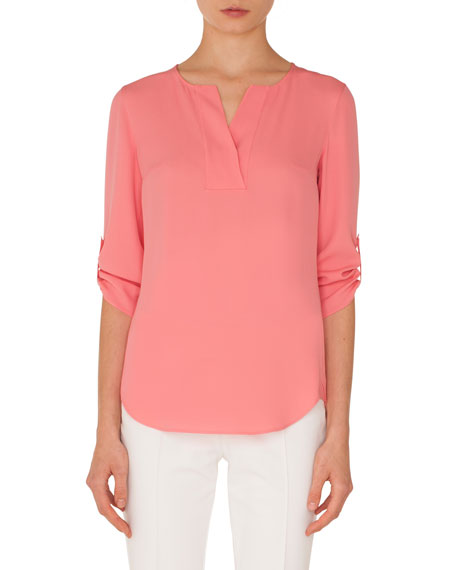 Split-Neck 3/4-Sleeve Silk Blouse
