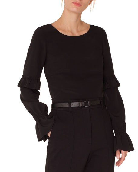 Akris punto Round-Neck Ruffled-Sleeve Silk Blouse