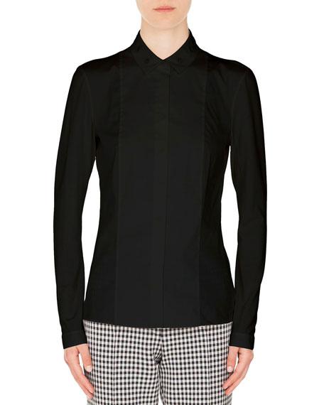 Long-Sleeve Eyelet-Collar Button-Down Cotton Shirt