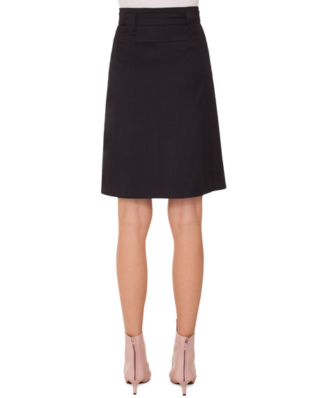 A-Line Belted Knee-Length Cotton Skirt
