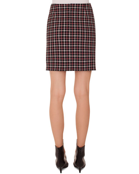 Glen Check Woven Straight Back-Zip Mini Skirt