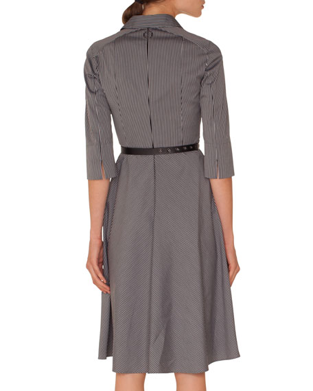 Elbow-Sleeve Detachable-Collar Press-Button Striped Shirtdress