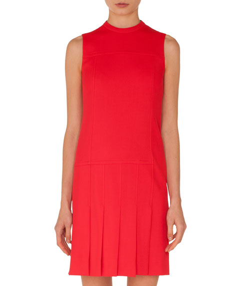 Sleeveless Crewneck Wool Shift Dress with Pleated Front