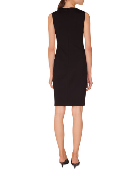 Sleeveless Cutout-Shoulder Knee-Length Jersey Sheath Dress