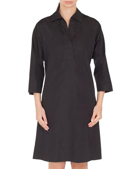 V-Neck Bracelet-Length Cotton Knee-Length Dress