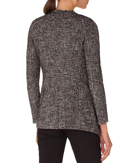 Open-Front Long-Sleeve Tweed Jacket w/ Fringe Details