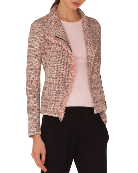 Zip-Front Tweed Jacket w/ Frayed Edge