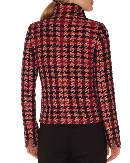 Stand-Collar Zip-Front Houndstooth Tweed Jacket