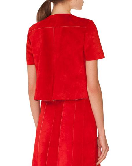 Zip-Front Short-Sleeve Leather Suede Jacket