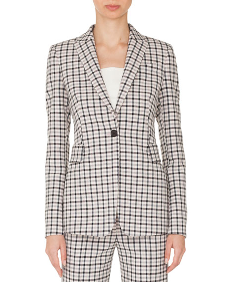 One-Button Long-Sleeve Flap-Pockets Tailored Glen-Check Blazer