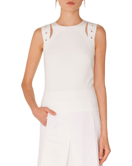 Round-Neck Sleeveless Cutout Eyelet Shoulder Jersey Top