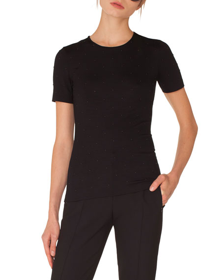 Crewneck Short-Sleeve Studded Jersey Shirt
